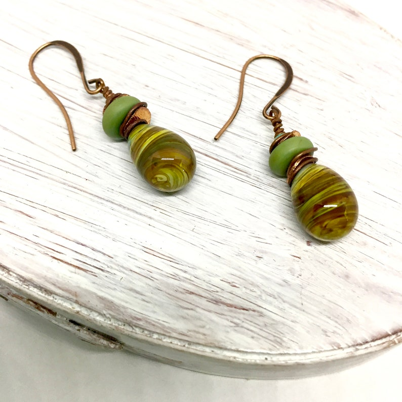Olive Swirl Glass Earrings Drop and Dangle Artisan Crafted image 0