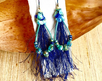 Blue Teal Boho Earrings -Handcrafted Leather and Silk Earrings - Mixed Media Jewelry - Artisan Jewelry Gifts