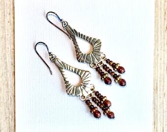 Bronze Art Deco Earrings - Boho Style Dangle Earrings - Handmade Gifts for Her - Original Jewelry