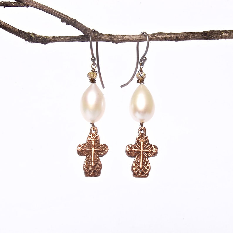 Artisan Crafted Bronze and Pearl Earrings Filigree Cross image 0