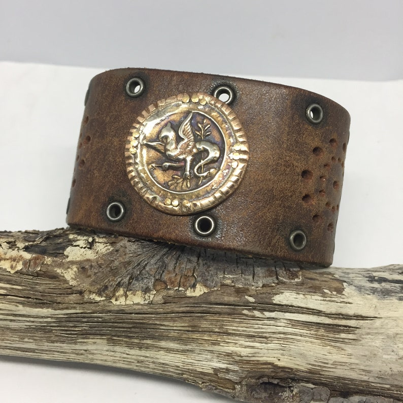 Gifts for Men Leather and Copper Cuff Boho Jewelry OOAK image 0