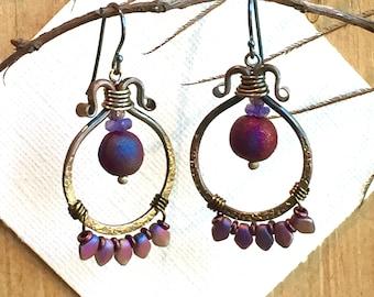 Artisan Crafted Ladies Earrings - Hand-forged Red Brass Hoops - Wearable Art Earrings - Raku Art Beads