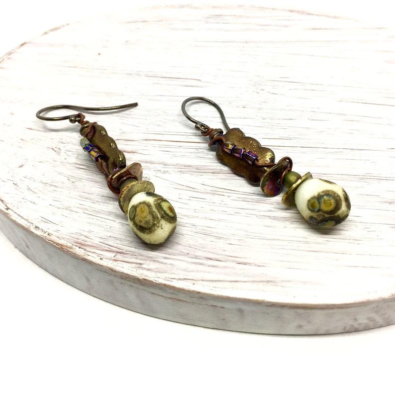 Raku Teardrop Earrings Artisan Crafted Jewelry Beach image 0