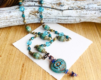 """Teal Bronze Heart Necklace, Premium Czech Glass Beaded Jewelry, Ladies 18"""" Teal Necklace"""