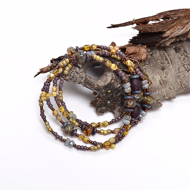 Lavender Fields Collection Boho Beaded Necklace Spring Wrap image 0