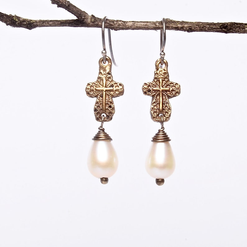 Faith Earrings Artisan Crafted Copper and Pearl Earrings image 0