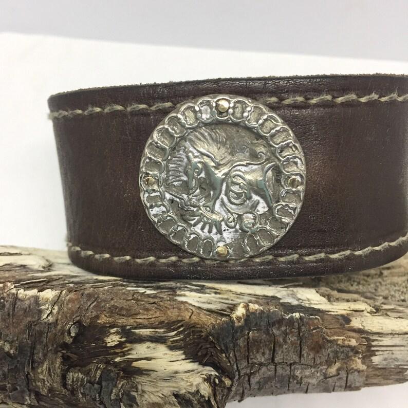 Men's Fashion Leather Cuff Custom Jewelry OOAK Artisan image 0
