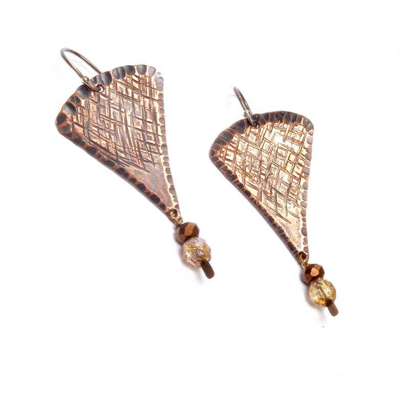 Artisan Crafted Jewelry Textured Copper Boho Earrings image 0