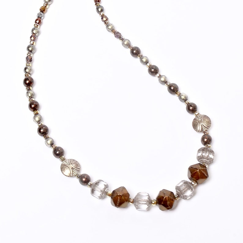 Beaded Silver and Bronze Necklace Elegant Glass Beaded image 0