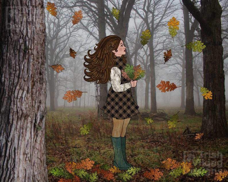 forest photography woods art cabin home decor oak leaf oak image 0