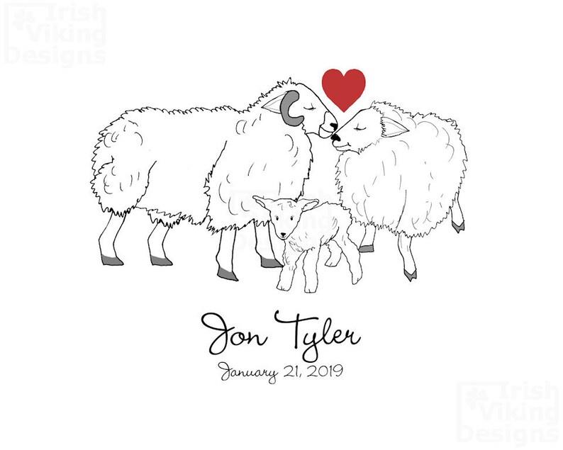 sheep family personalized art housewarming gift engagement image 0