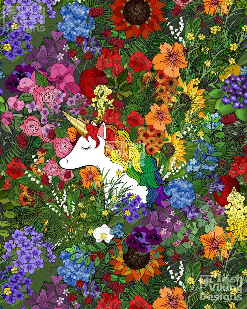 Unicorn in a Rainbow Garden art print childrens image 0