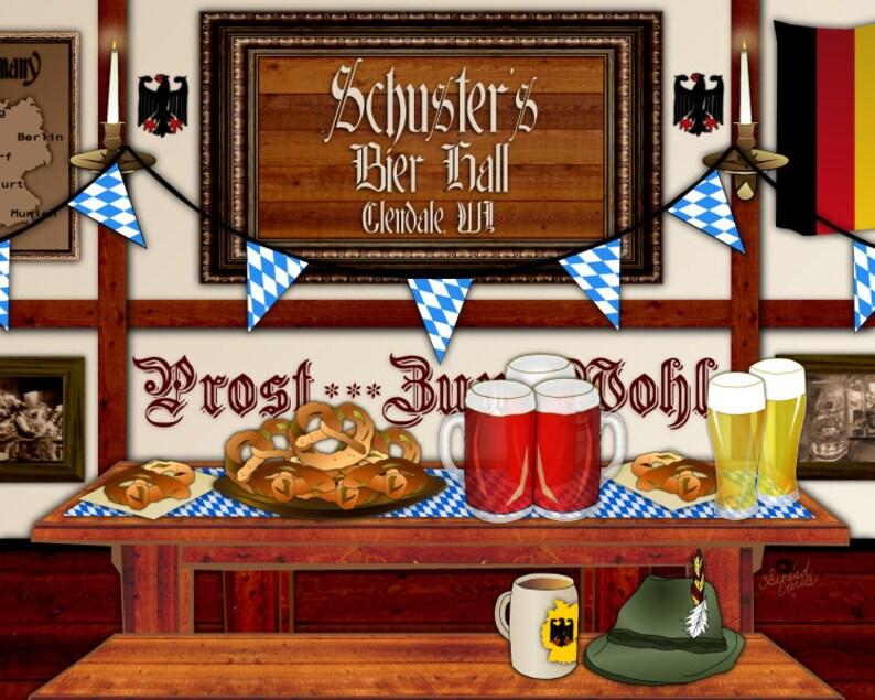German Beer Hall personalized art home bar print Bavarian image 0