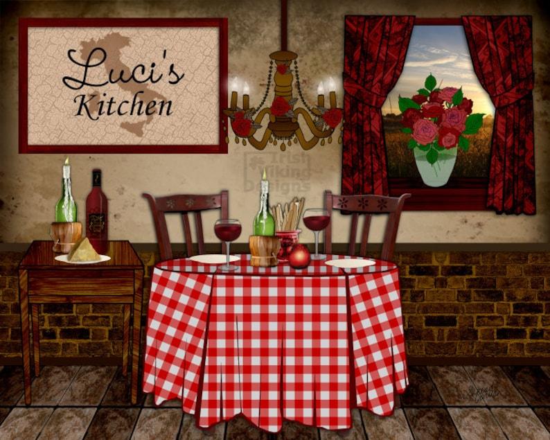 Italian kitchen art personalized print Italian ristorante image 0