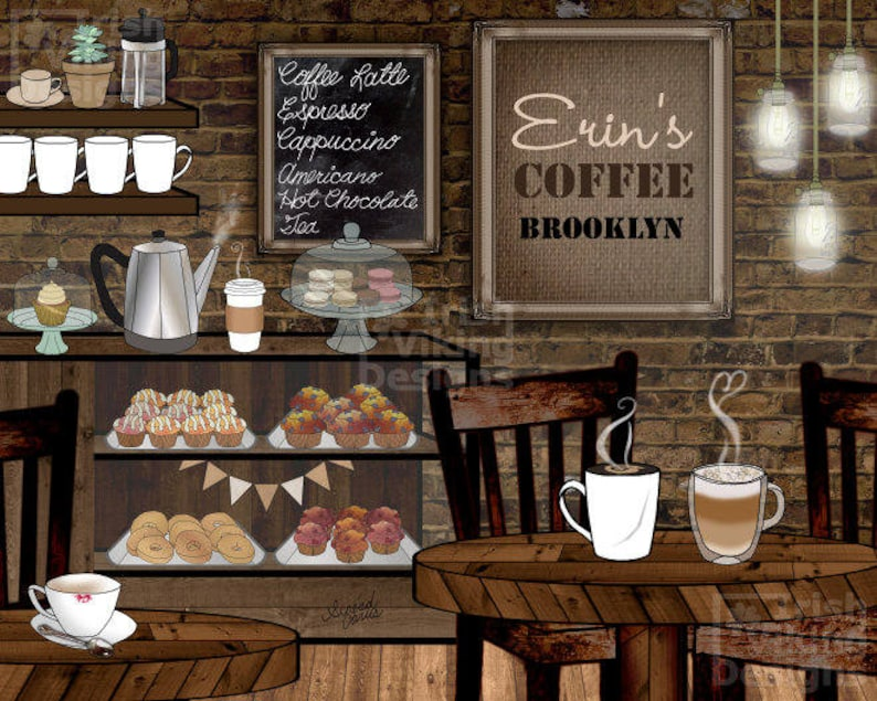 personalized coffee cafe coffee shop coffeehouse art print image 0