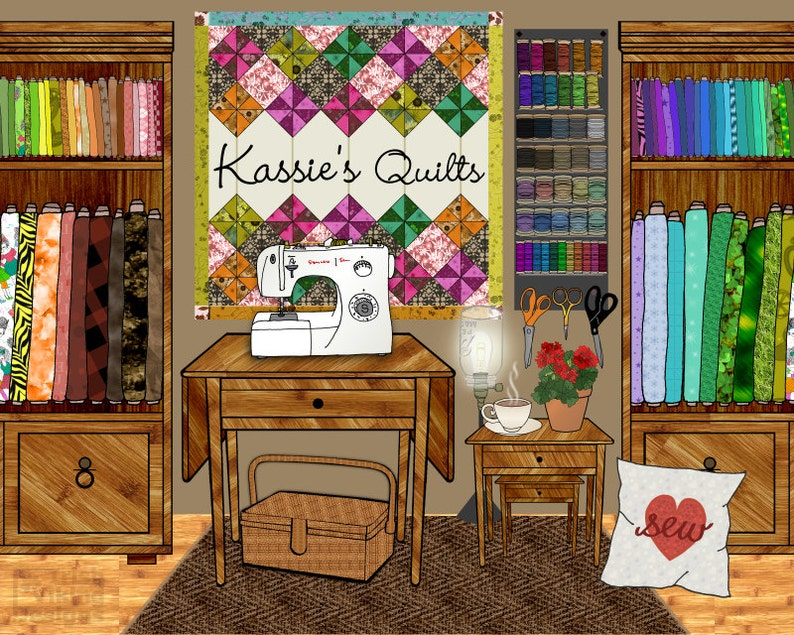 sewing room decor sewing machine art quilter quilt quilting image 0