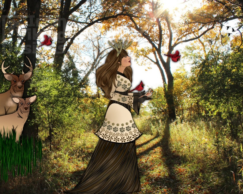 woodland queen nature photography bird illustration antler image 0