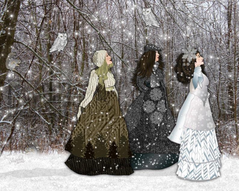 Winter Queens / Snow Owl / Winter Landscape / nature nursery image 0