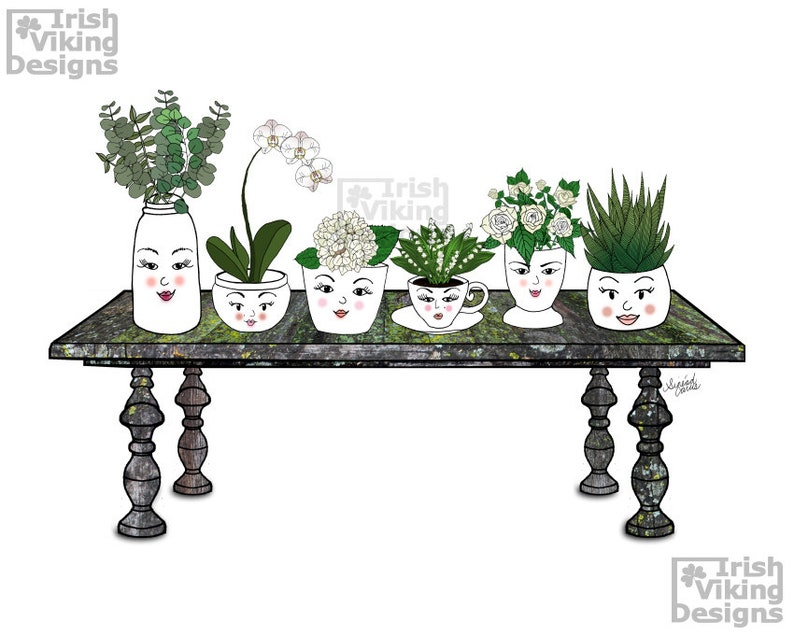 Face Vases 8x10 inch art print planters illustration image 0