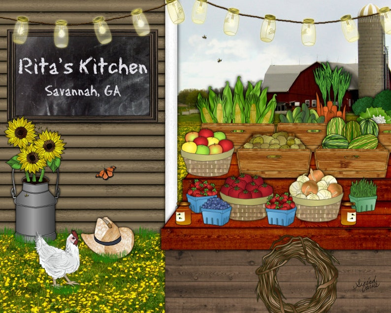 Farm Stand kitchen art personalized print country home image 0