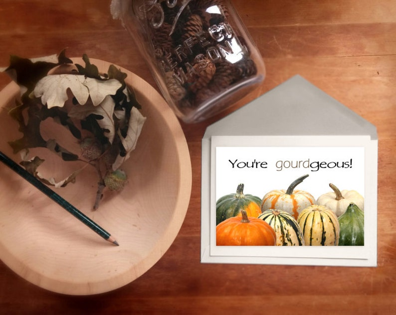 Autumn greeting card Fall art print card You're image 0