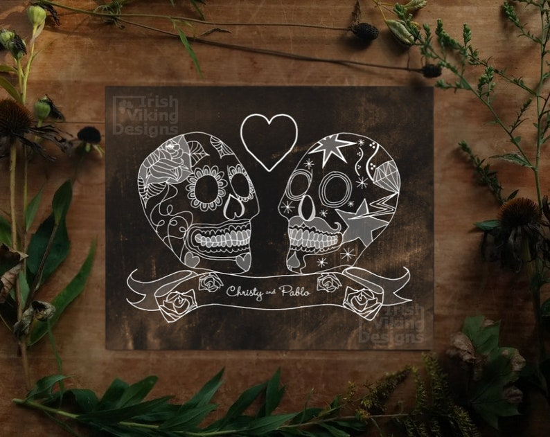 Sugar Skullspersonalized art printwedding giftDay of the image 0