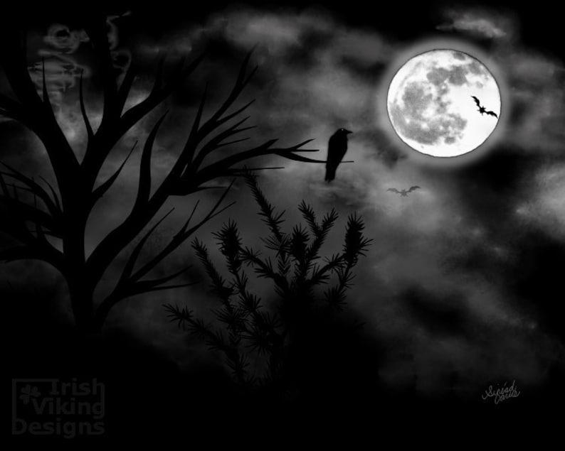 Mysterious Moon Halloween art print spooky decor full moon image 0