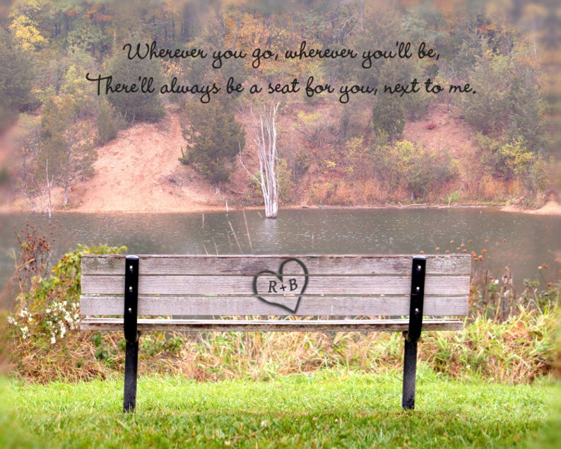 love gift personalized art print park bench carved heart image 0