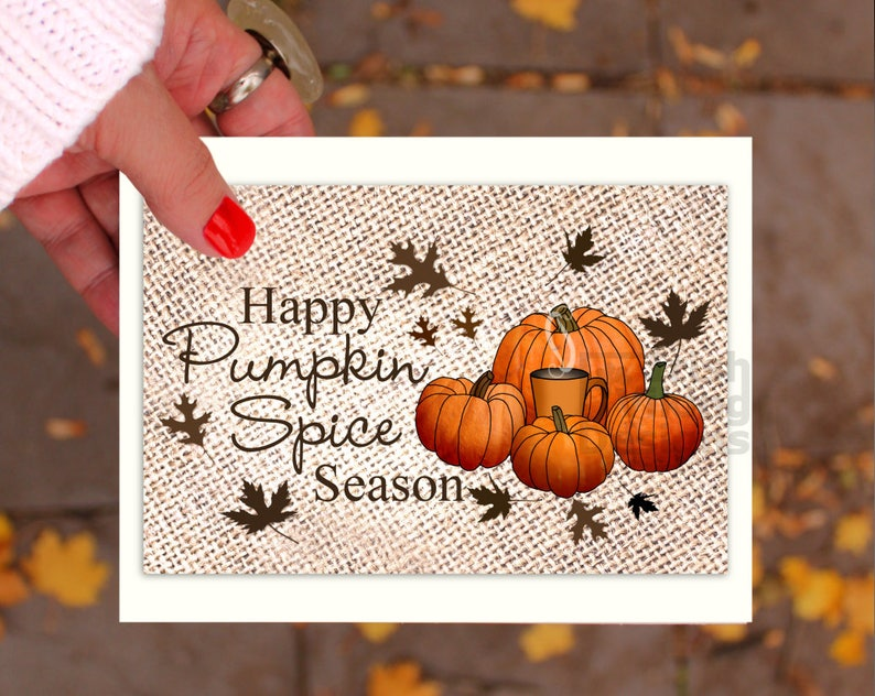 Pumpkin Spice season greeting card latte coffee lover fall image 0