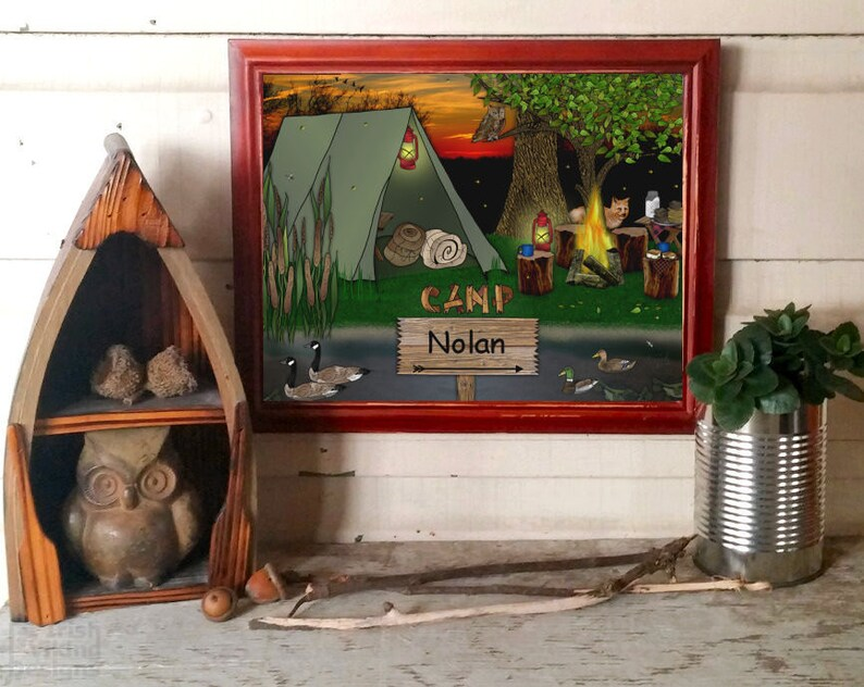 camping personalized art print rustic wilderness woodland image 0