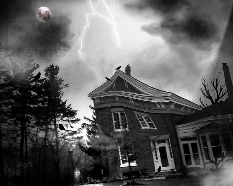 Halloween art print haunted house gothic decor ghost image 0