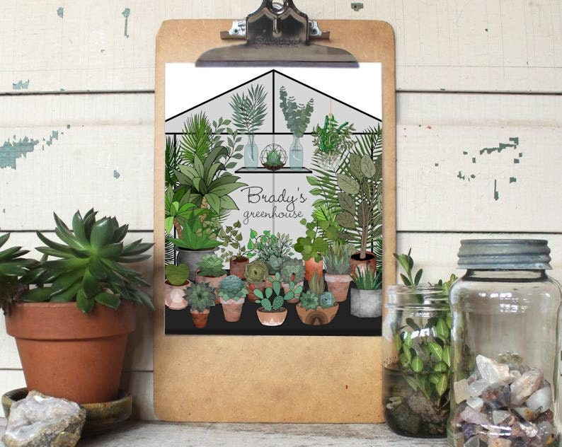 Personalized greenhouse art print conservatory crazy plant image 0