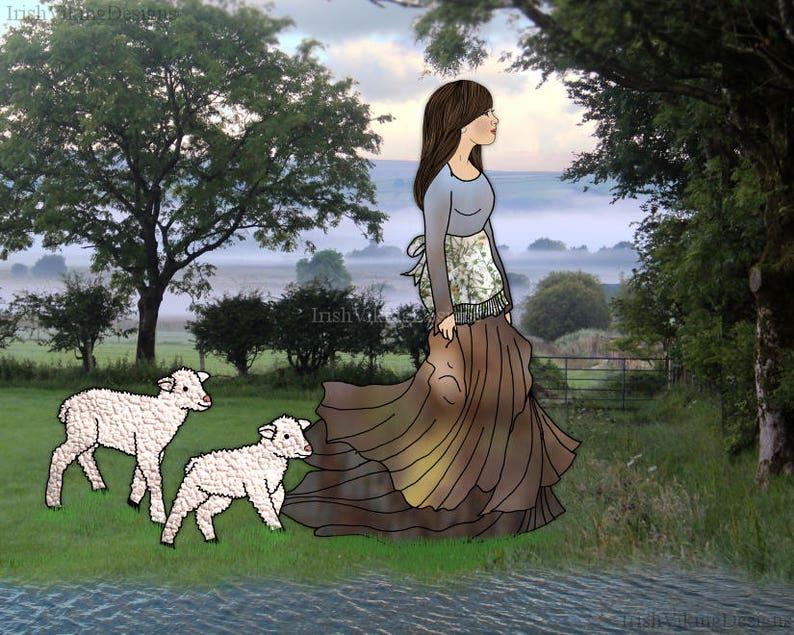 Mary and Her Little Lambs baby animals nursery decor Irish image 0