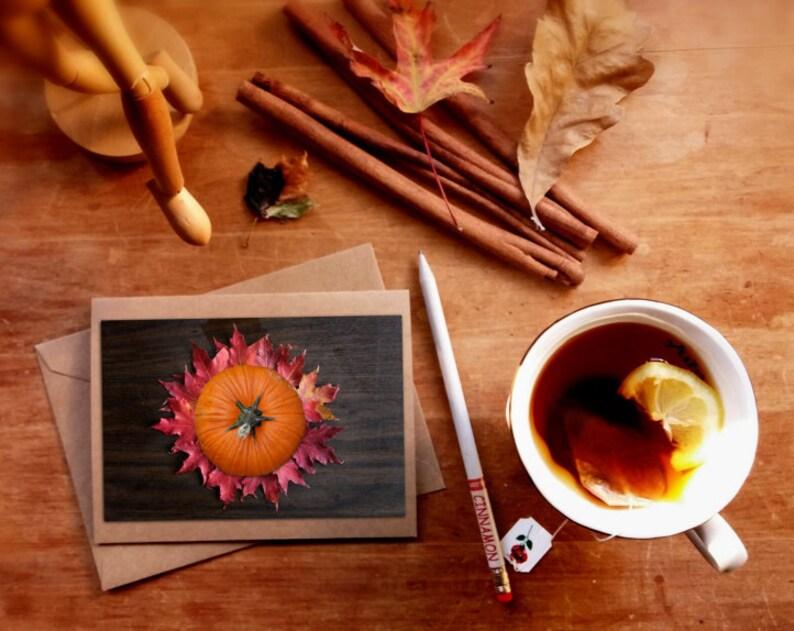 Autumn greeting card Fall art print card pumpkin leaves image 0