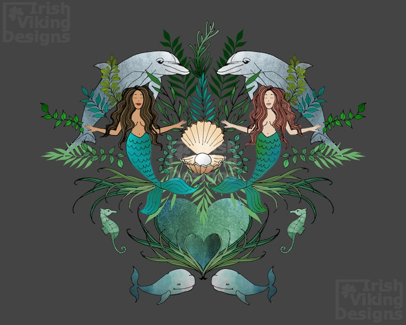Heart of the Ocean mermaids dolphins whales seahorses image 0