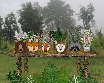 Woodland Wildflowers, animal faces, bear, fox, deer antlers, hedgehog, raccoon, bunny rabbit, forest animals, woods nursery, northwoods art