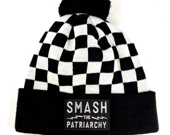 Checkered Smash the Patriarchy Beanie
