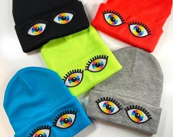 Rainbow Vision knit beanie