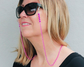 Hot Pink Glasses Chain l Eyeglasses l Sunglass Chain l Eyeglasses Holder l Boho Glasses Chain l Beaded Glasses Chain Pink Accessories