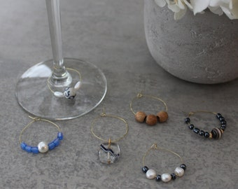 Set of Six 6 HAMPTONS Gold White Wine Glass Charms / Coastal Wine Glass Charms / Celebrations / Pearl Charms / Dining Decor / Gift for HER