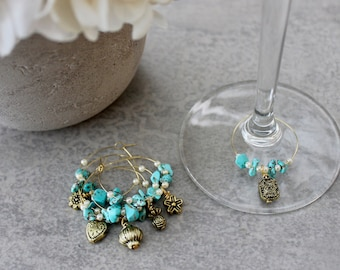 Set of Six 6 Byron Boho Turquoise Pearl Gold White Wine Glass Charms / Celebration Charms / Pearl Charms / Dining Decor / Gift for HER