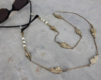 Freshwater Pearl Gold Leaf Chain Eyeglasses l Sunglass Chain l Eyeglass Holder l Pendant Necklace l Boho Glasses Beaded Chainl Nature Lovers