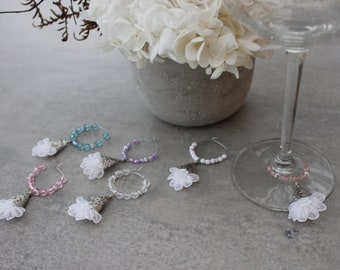 Set of Six 6 Silver White Flower Wine Glass Charms / Celebration Charms / Crystal Charms / Dining Decor / Pink Accessories / Gift for HER