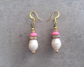 Luxe Freshwater Pearl, Baby Pink Crystal, Beaded Dangle Earrings, Bridal Bridesmaid Earrings, Crystal Earrings, Gold Earrings, Gift for Her