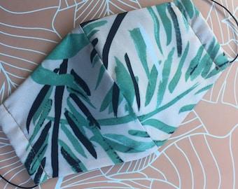 Womens Silk Pastel Pink Green Soft Face Mask, 3 Layers Face Mask, Face Mask Gift, Stylish Face Mask, Comfy Face Mask, Pastel Coral Face Mask