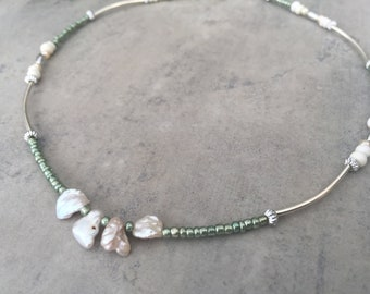 Silver Freshwater Pearl Beaded Necklace, Summer Necklace, Bridesmaids Necklace, Bridal Necklace, Minimalist Necklace, Gift for Her