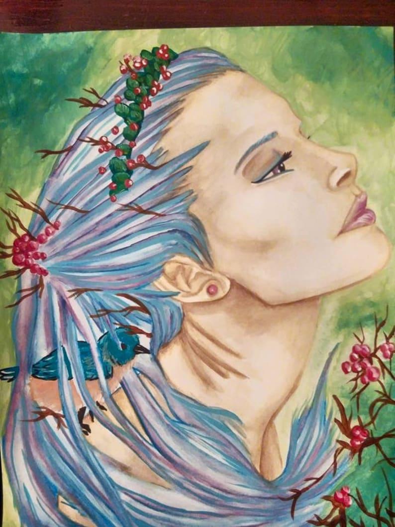 Bird Queen Painting Large Watercolor PRINT