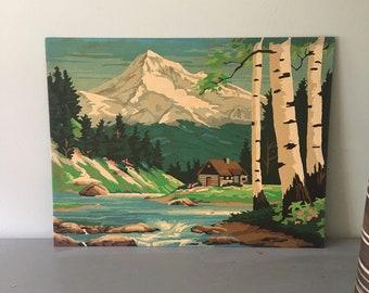 Vintage Paint by Number, Mountain Landscape PBN, Spring Cabin, Master Craft, Mountain Landscape, Cabin River Mountain, Paint by Number