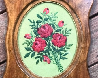 1970's Embroidered Roses in Wooden Frame