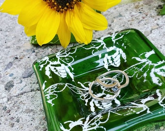 Bee Bottle Glass Ring Dish - Spoon Rest - Recycled Glass